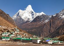 Mount Ama Dablam and Khumjung village near Namche bazar Royalty Free Stock Photography