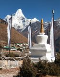 Mount Ama Dablam and Khumjung village near Namche bazar Stock Photo
