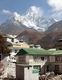 Mount Ama Dablam and Pangboche village near Namche bazar Royalty Free Stock Images