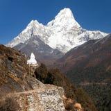 Mount Ama Dablam with stupa near Pangboche village Stock Images