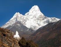 Mount Ama Dablam with stupa near Pangboche village Stock Photography