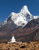 Mount Ama Dablam with stupa near Pangboche village Stock Image