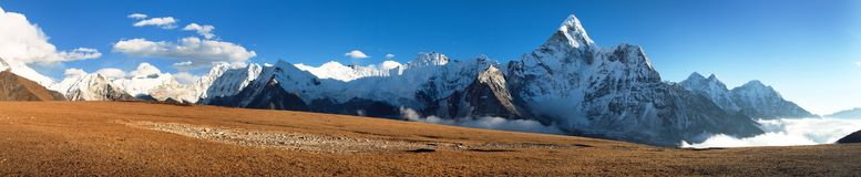 Mount Ama Dablam on the way to Mount Everest Base Camp royalty free stock photography