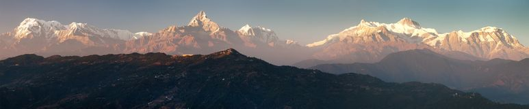 Mount Annapurna and Machhapuchhre or Machhapuchhare, Nepal. Evening, sunset view of mount Annapurna and Machhapuchhre or Machhapuchhare, Nepal Himalayas stock photography