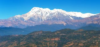 Mount Annapurna range, Nepal Himalayas mountains. Panoramic view royalty free stock image