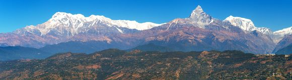 Mount Annapurna range, Nepal Himalayas mountains. Panoramic view royalty free stock photography