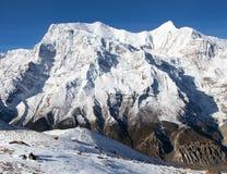 Mount Annapurna 3, round Annapurna circuit trekking trail Royalty Free Stock Photos