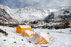 Mount Annapurna with tents from base camp, Nepal Stock Photography