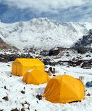 Mount Annapurna with tents from Annapurna base camp. View of Mount Annapurna with tents from Annapurna base camp, Nepal himalayas mountains stock photos
