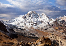 Mount Annapurna view from Annapurna base camp in Nepal Himalaya stock photo