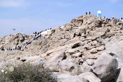 Mount Arafat of mercy (Jabal Rahmah) Royalty Free Stock Images