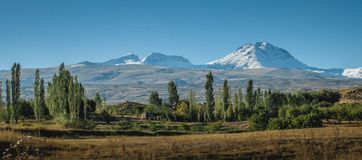 Mount Aragats in Armenia from south. This is the highest mountain in Armenia -Aragats. I took this shot from yerevan- Aparan highway in the last summer Royalty Free Stock Photo