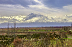 Mount Ararat all covered snow  in cold spring day Royalty Free Stock Photo