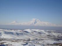 Mount Ararat i vintern Arkivbild