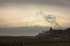 Mount Ararat and  Khor Virap. Mount Ararat and the old church of Khor  Virap Royalty Free Stock Photography