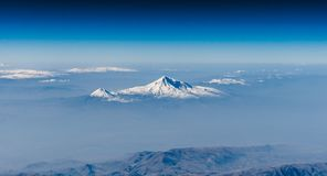 Mount Ararat And Little Ararat. A nice view of Mount Ararat 5137m asl and Little Ararat 3896m asl wearing their winter dress. Last eruption was in 1840. National Royalty Free Stock Image