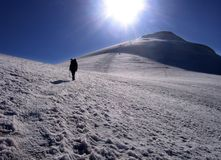 Mount Ararat - near the summit. Mountaineer near the summit of Mount Ararat, walking on a glacier Stock Photography