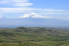 Mount Ararat. And the view of the Ararat Valley and Yerevan, Armenia Royalty Free Stock Image
