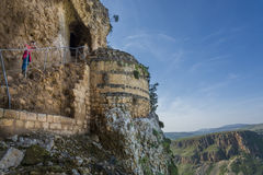 Mount Arbel  Cliff Cave Fortress. Mount Arbel Cliff Cave Fortress overlooking towards Mount Nitai and Nazareth, The Lower Galilee, Israel Royalty Free Stock Images