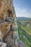 Mount Arbel  Cliff Cave Fortress. Mount Arbel Cliff Cave Fortress overlooking towards Mount Nitai and Nazareth, The Lower Galilee, Israel Stock Photo