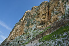 Mount Arbel  Cliff Cave Fortress. A view of Mount Arbel  Cliff Cave Fortress overlooking the Sea of Galilee and Golan Heights Stock Photography