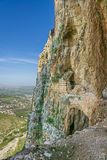 Mount Arbel  Cliff Cave Fortress. A view of Mount Arbel  Cliff Cave Fortress overlooking the Sea of Galilee and Golan Heights Royalty Free Stock Photo