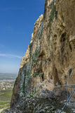 Mount Arbel  Cliff Cave Fortress Stock Images