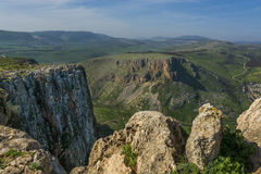 Mount Arbel Cliff. Overlooking towards Mount Nitai and Nazareth, The Lower Galilee, Israel Royalty Free Stock Photography
