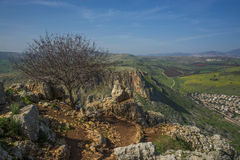 Mount Arbel Cliff. Overlooking towards Mount Nitai and Nazareth, The Lower Galilee, Israel Royalty Free Stock Image