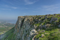 Mount Arbel Cliff. A view of Mount Arbel  Cliff Cave Fortress overlooking the Sea of Galilee and Golan Heights Stock Photo