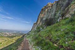 Mount Arbel Cliff. A view of Mount Arbel  Cliff Cave Fortress overlooking the Sea of Galilee and Golan Heights Royalty Free Stock Photo