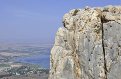 Mount arbel and sea of galilee  Royalty Free Stock Image