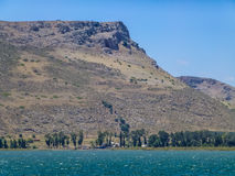 The Mount Arbel, Sea of Galilee, Israel. View of Mount Arbel from the Sea of Galilee, Lower Galilee near Tiberias in Israel Stock Image