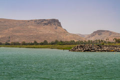 The Mount Arbel, Sea of Galilee, Israel. View of Mount Arbel and Mount Nitai from the Sea of Galilee near the Ginosar in Israel Stock Photos