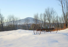 Mount Ascutney Winter Landscape With Vintage Farm Machine Royalty Free Stock Photo