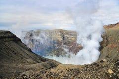 Mount Aso crater lake,. Kumamoto, Japan stock photo