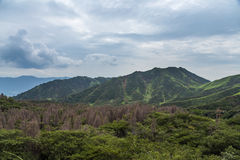 Mount Aso landscape which is active volcano in Kumamoto, Japan Royalty Free Stock Image