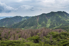 Mount Aso landscape which is active volcano in Kumamoto, Japan Royalty Free Stock Photos