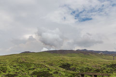 Mount Aso volcano erupting in Kumamoto, Kyushu, Japan royalty free stock photos