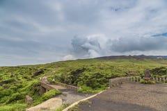 Mount Aso volcano erupting in Kumamoto, Kyushu, Japan royalty free stock photography