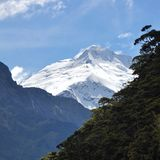 Mount Aspiring. A distant view of Mount Edward in Mount Aspiring National Park, a beautiful mountain in New Zealand's South Island in Summer Time (January Stock Images
