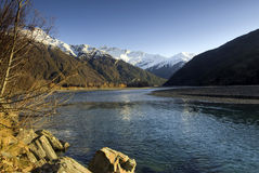 Mount Aspiring, Wanaka, New Zealand. Autunm on the Matukituki River, Mount Aspiring in the background, Mount Aspiring National Park, near Wanaka, South island royalty free stock photos
