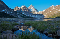 Mount Assiniboine. Beautiful morning light on Mount Assiniboine and Lake Magog in the Rocky Mountains of Canada Stock Image