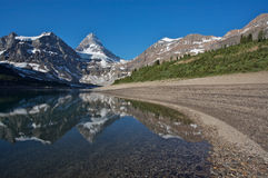 Mount Assiniboine. Beautiful morning light on Mount Assiniboine reflected in Lake Magog in the Rocky Mountains of Canada Royalty Free Stock Photos