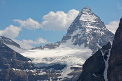 Mount Assiniboine and glaciers. Mount Assinboine with glaciers and snowfields, British Columbia, Canada Royalty Free Stock Photo