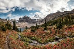 Free Mount Assiniboine With Lake Magog On Autumn Forest At Provincial Park Stock Photo - 179320530