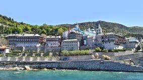 Mount Athos Chalkidiki Grekland - kloster av St Panteleimon arkivfoton