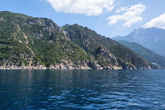 Mount Athos, Holy Mountain, Halkidiki, Greece. View from the sea. Royalty Free Stock Images