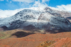 Mount Atlas in Morocco. Landscape of Mount Atlas in Morocco with herd of goats on the basis Stock Photography