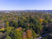 Mount Auburn Cemetery, Watertown, Massachusetts, USA. Mount Auburn Cemetery and Boston skyline in fall, Watertown, Greater Boston Area, Massachusetts, USA stock image